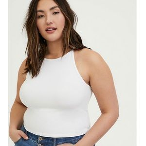 TORRID WHITE HIGH NECK CROP FOXY CAMI